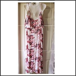 NWOT FOREVER 21 DRESS WHITE&PINK W/FLOWERS SIZE L